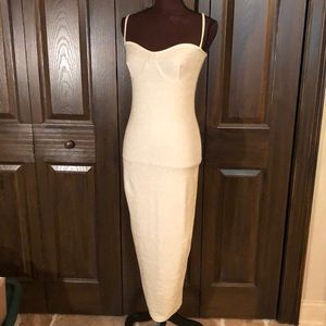 NWT Pretty Little Thing gold sexy Fitted Dress 10